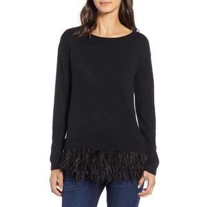 Chelsea28 Feather Trim Sweater